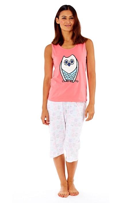Selena Secrets Dámské bavlněné pyžamo Owl Coral růžovobílá 16/18