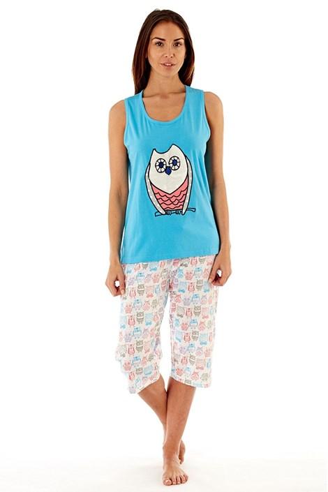 Selena Secrets Dámské bavlněné pyžamo Owl Blue modrobílá 8/10