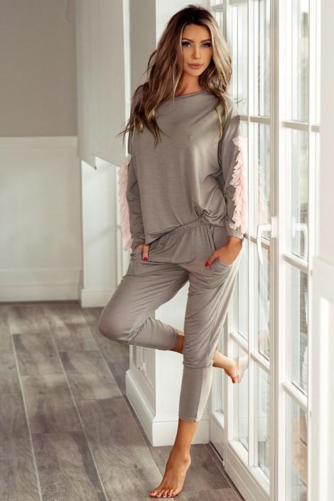 PIGEON Dámské elegantní pyžamo Alison mocca XL