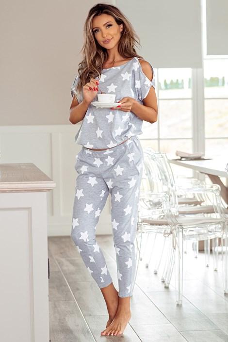 PIGEON Dámské pyžamo Little Stars šedobílá XL
