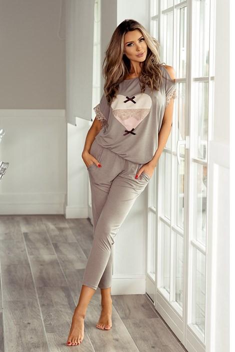 60b73abf5a8 PIGEON Dámské elegantní pyžamo Patrizia mocca S