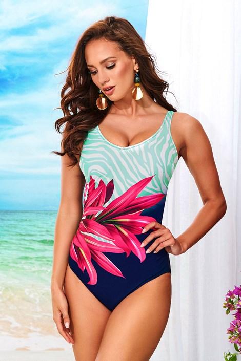 Volin Dámské jednodílné plavky Sarah bez kostic modrorůžová 5XL