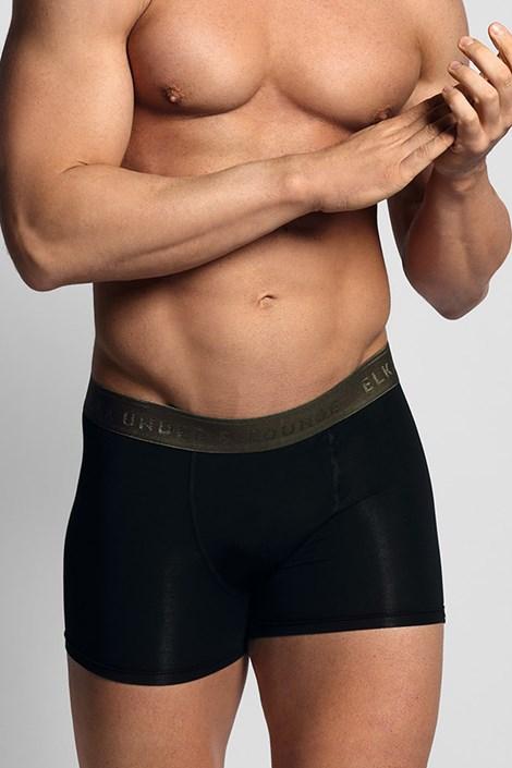 Černé boxerky ELKA LOUNGE s khaki gumou
