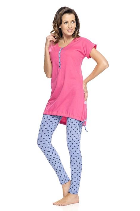 Dobra nocka Mateřské, kojicí pyžamo Rosy růžová XL