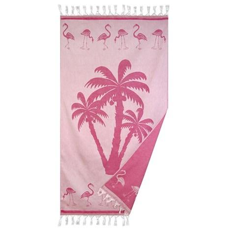Le Comptoir De La Plage Plážová deka Palmier růžová ruzova 90x160