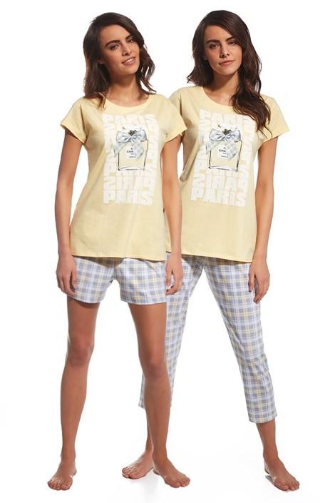 Cornette 3dílný set dámského pyžama Parfum žlutá XL