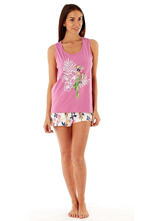 Selena Secrets Dámské bavlněné pyžamo Parrot Pink krátké růžová 16/18