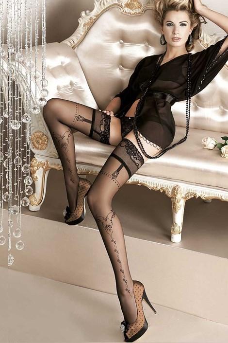Ballerina Luxusní samodržící punčochy Pearl 127 černá S/M