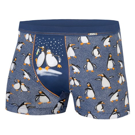 Cornette Pánské boxerky CORNETTE Tučňáci modrobílá S