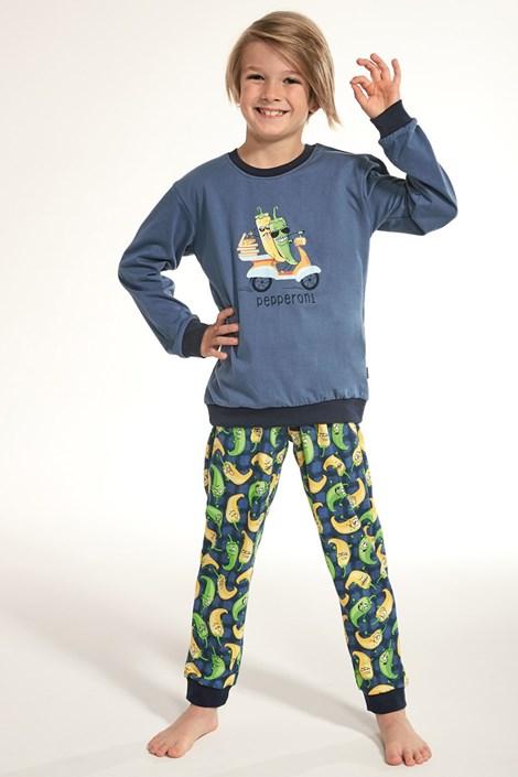 Cornette Chlapecké pyžamo Pepperoni modrá 98/104