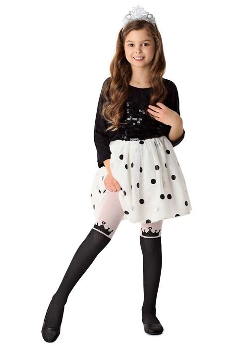 MONA Dívčí punčochové kalhoty Princess černorůžová 152/158
