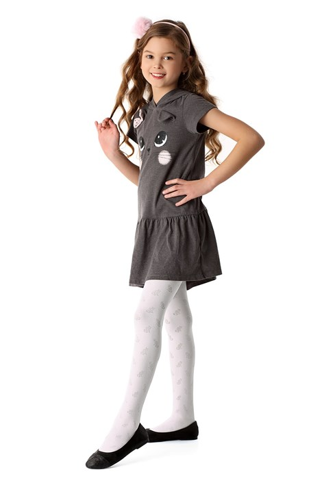 MONA Dívčí punčochové kalhoty Purrfection bílá 140/146