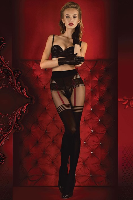 Ballerina Luxusní punčochové kalhoty Red Intense 340 černá S/M