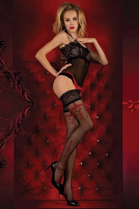 Ballerina Luxusní samodržící punčochy Red Intense 343 černočervená S/M
