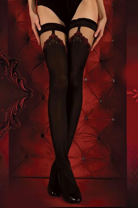Ballerina Luxusní samodržící punčochy Red Intense 345 černočervená S/M