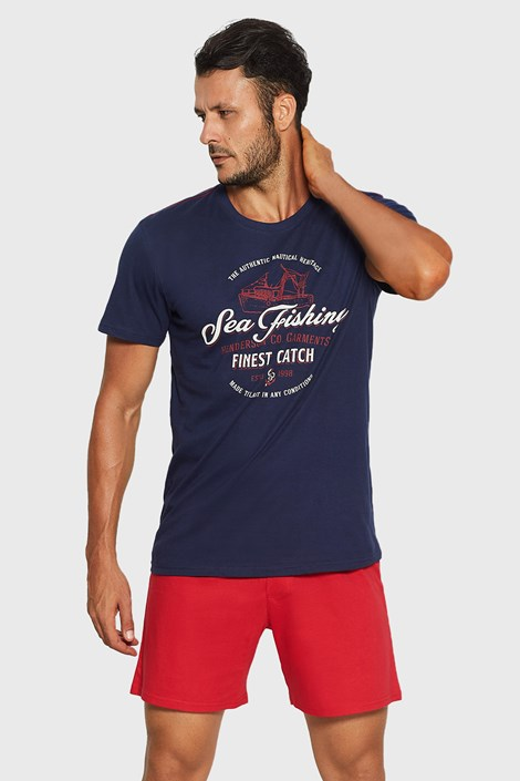Henderson Modročervené pyžamo Rob tmavěmodrá XL