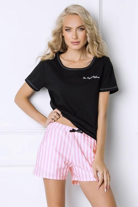Aruelle Dámské pyžamo Royal s proužky černá/růžová M