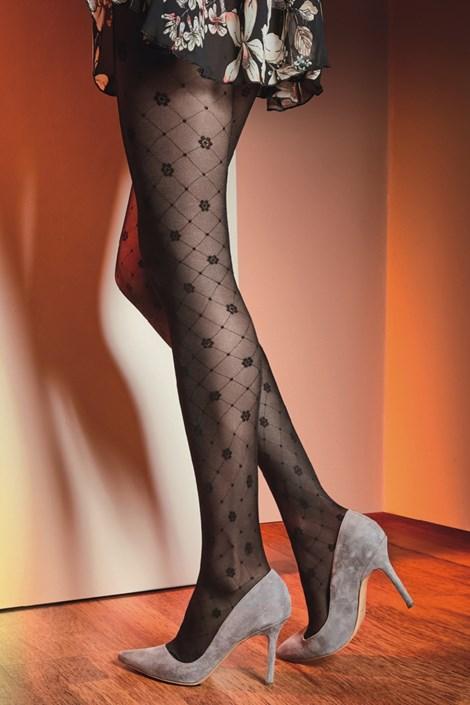 Gatta Vzorované punčochové kalhoty Royale 02 40 DEN černá L