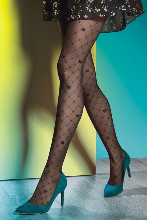 Gatta Vzorované punčochové kalhoty Royale 03 40 DEN černá L