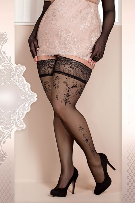 Ballerina Luxusní samodržící punčochy Soft size 371 černá XXL