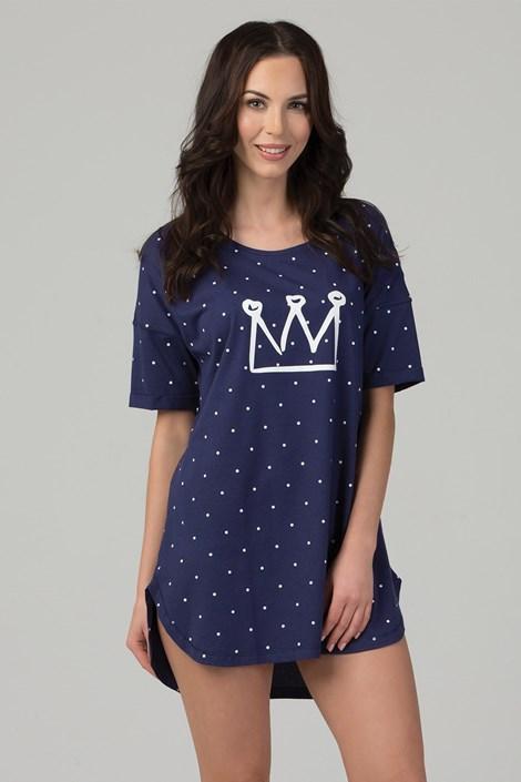 Rössli Noční košile Queen s puntíky modrá XL