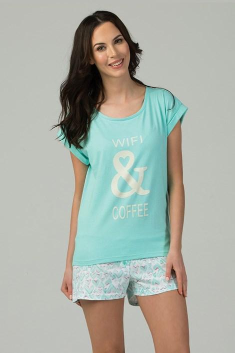 Rössli Dámské pyžamo Wifi & Coffee tyrkysová XL