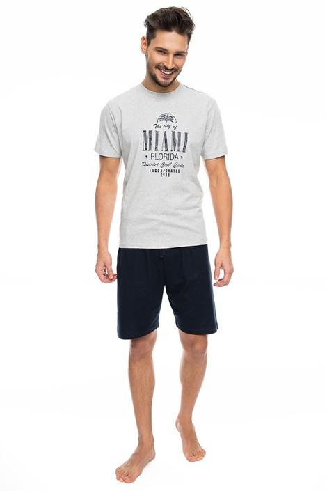Rössli Pánské pyžamo RÖSSLI Miami Šedé šedomodrá L