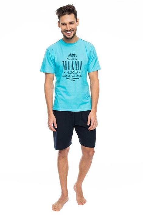 Rössli Pánské pyžamo RÖSSLI Miami Tyrkys tyrkysová XL