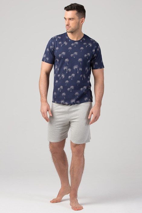 Rössli Pánské pyžamo RÖSSLI Palm Trees Navy modrošedá XL