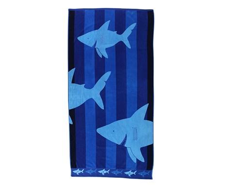 DECOKING Plážová osuška Sharky modra 90x180