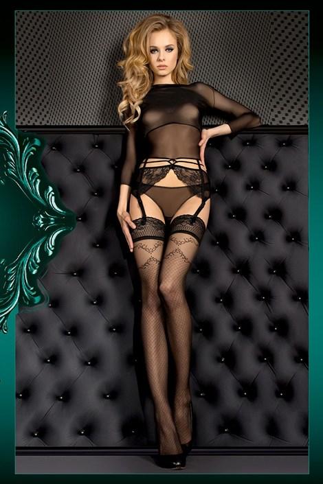 Ballerina Luxusní samodržící punčochy Smeraldo 390 černá S/M