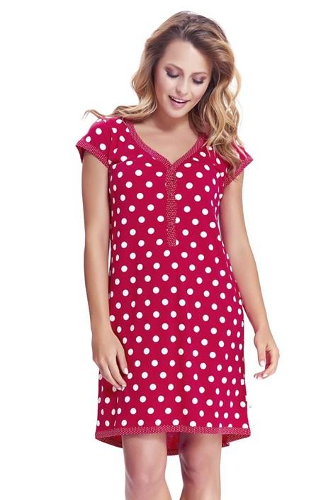 Dobra nocka Mateřská, kojicí košilka Dots červená XL