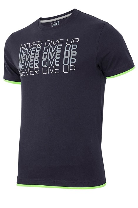 4F Pánské tričko 4F Never Give Up 100% bavlna tmavěmodrá S