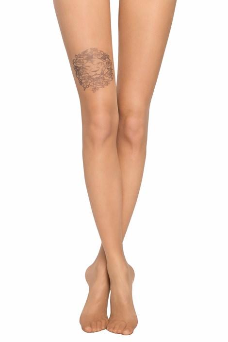 Conte Dámské punčochové kalhoty s imitací tetování na stehně 20 DEN natural S