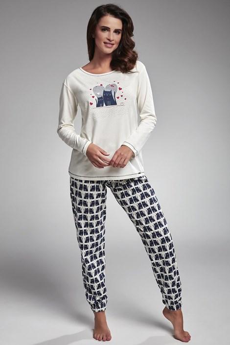 Cornette Dámské pyžamo Two Cats bílomodrá M