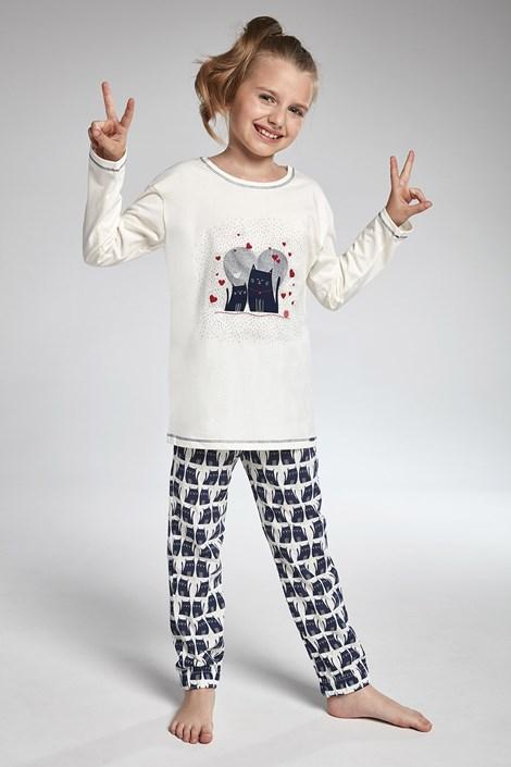 Cornette Dívčí pyžamo Cornette Two Cats béžovomodrá 98/104