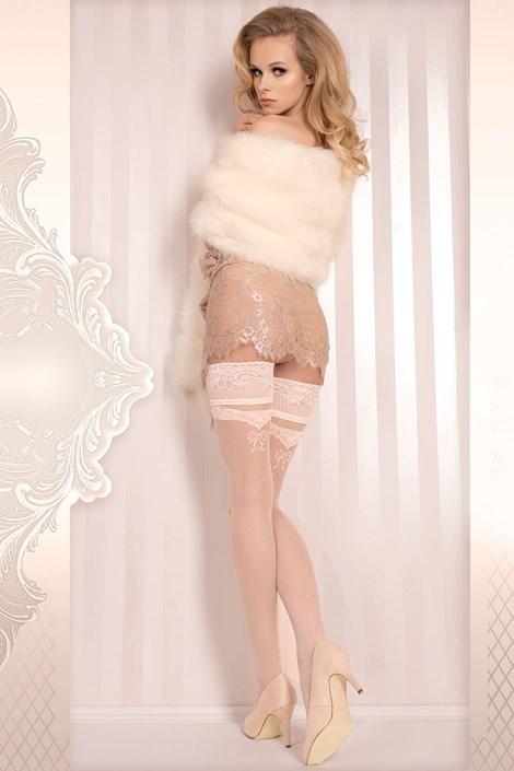 Ballerina Luxusní samodržící punčochy Wedding 373 ivory L/XL