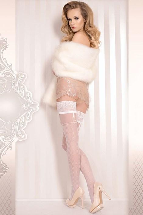 Ballerina Luxusní samodržící punčochy Wedding 374 bílá S/M