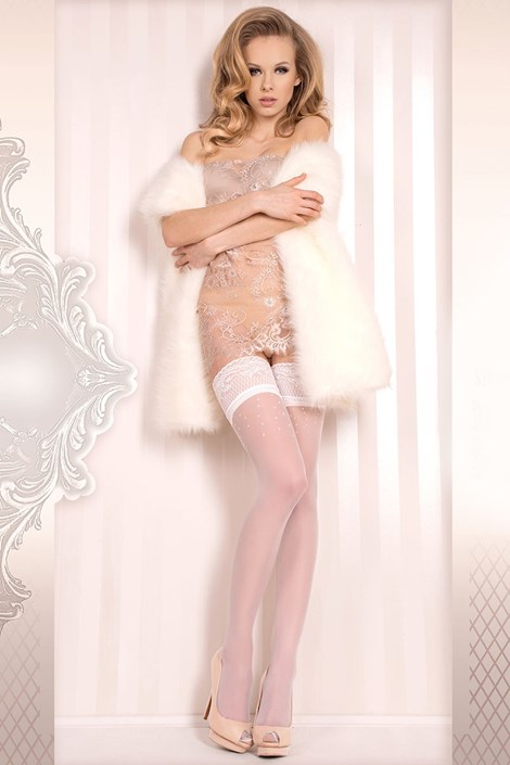 Ballerina Luxusní samodržící punčochy Wedding bílá S/M