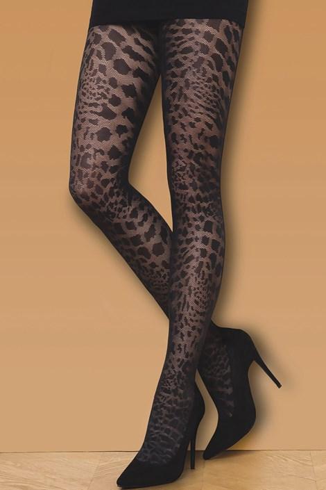 Gatta Vzorované punčochové kalhoty Wild Cat 50 DEN černá M