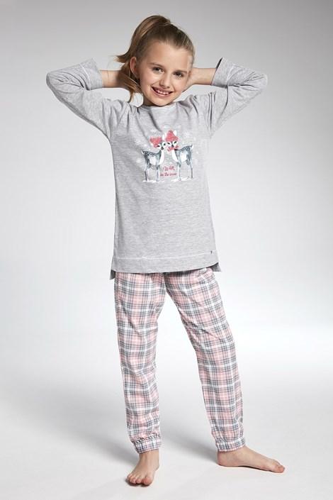 Cornette Dívčí pyžamo Cornette Winter Day šedorůžová 158/164