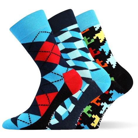 Lonka 3pack módních ponožek Woodoo MixB barevná 43-46