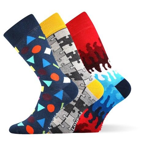 Lonka 3pack módních ponožek Woodoo MixD barevná 39-42