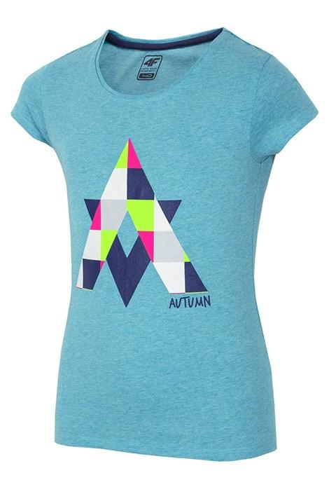 4F Dívčí tričko Autumn Blue tyrkysová 128