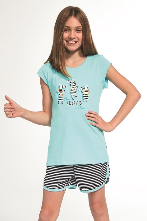 Cornette Dívčí pyžamo Zebra tyrkysová 98/104