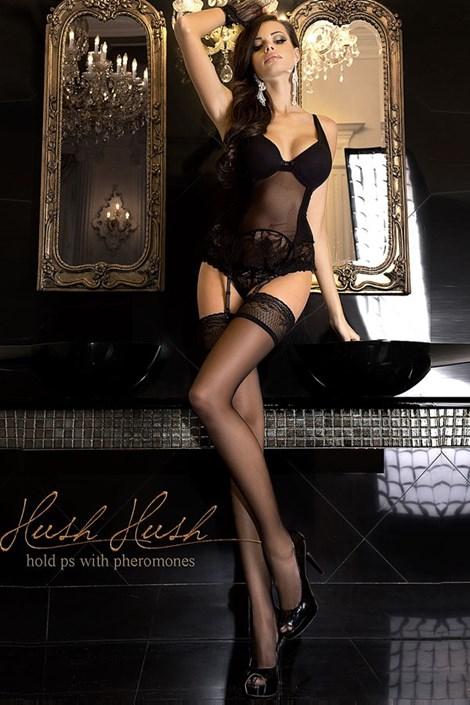Ballerina Luxusní samodržící punčochy 800 s feromony nero S/M