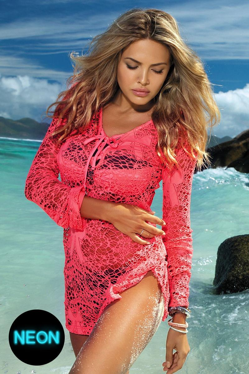 abf888fdb013 Dámské plážové šaty Olympia Pink neonové
