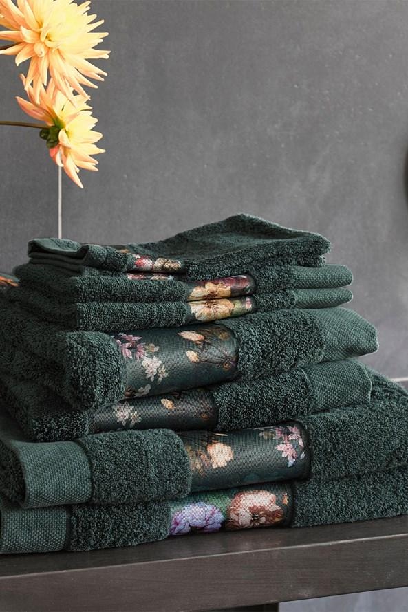 Essenza Home Fleur törölköző, sötétzöld