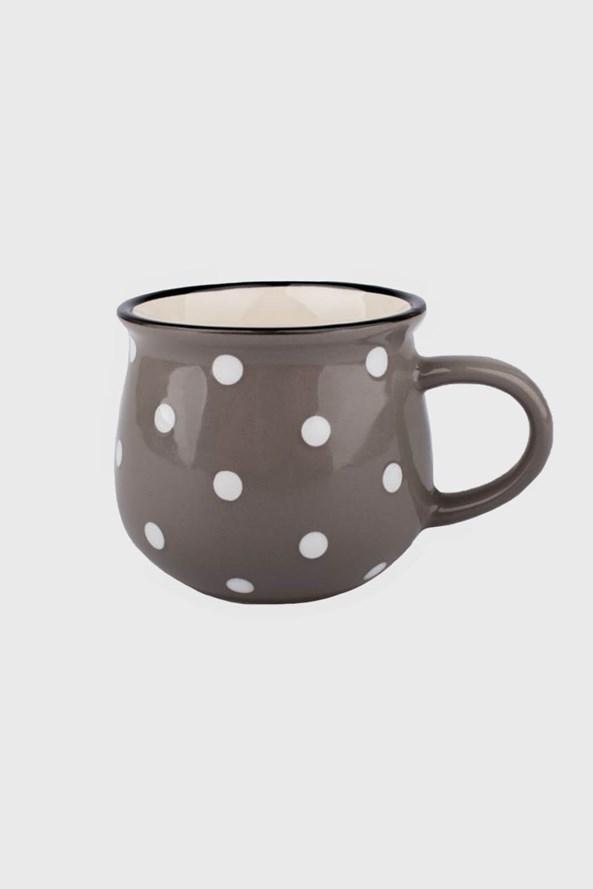 Malý keramický hrnček s bodkami sivý 230 ml