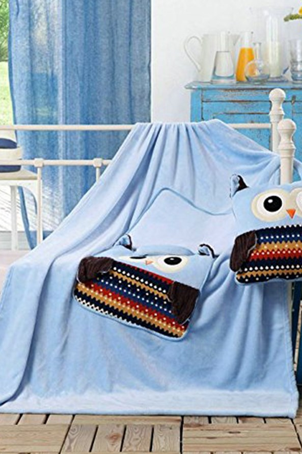 Dětský polštářek a deka v 1 Sova modrá